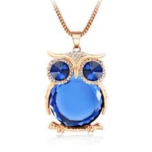 2016 Búho colgante, Collar de gargantilla de diamantes de imitación de Cristal con grandes pendientes para las mujeres de largo animal Cadena de joyería de fantasía de Oro y Plata