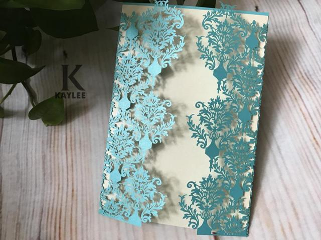 50pcs Light Blue filigree wedding invitation cardsLaser Cut Wedding
