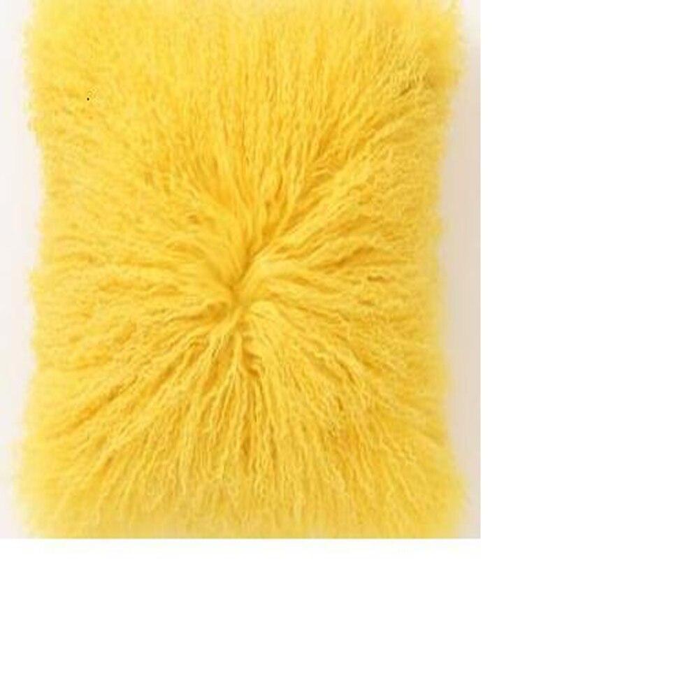 real mongolian lamb fur pillow cover tibetan fur cushion cover decorative throw pillows cushions home decor pillow case 12 x24