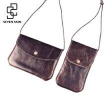 SEVEN SKIN Women Genuine Leather Bags Female Small Shoulder Bags Vintage Envelope Messenger Bag Mini Women Clutch Crossbody Bag