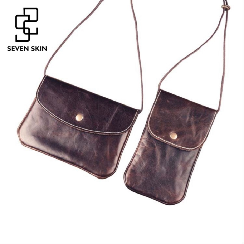 Women Vintage Retro Design Messenger Bags Genuine Leather Female Bag Small Mini Slim Women Shoulder Crossbody Bags Phone Holder