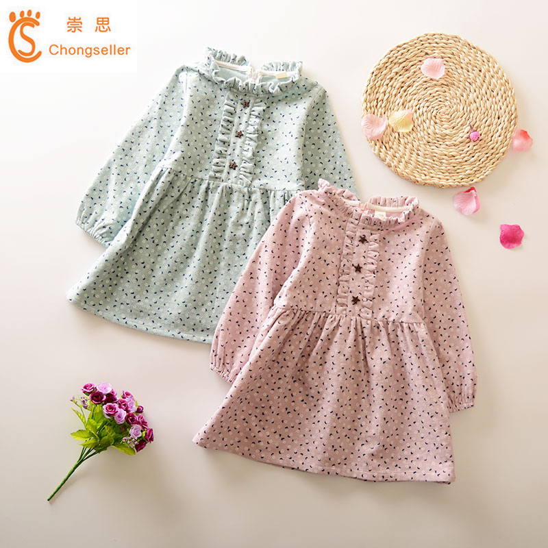 Girls Dress 2018 New Autumn Kids Spring Dress Long-Sleeves Casual Girls Clothing Cotton Printed Princess Wedding Party Dresses