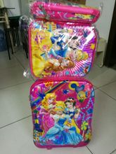 NEW 2017 fashion luggage  6D princess  travel suitcase set  (lunch box + pen boxes+trolley luggage )16 inch luggage with wheels