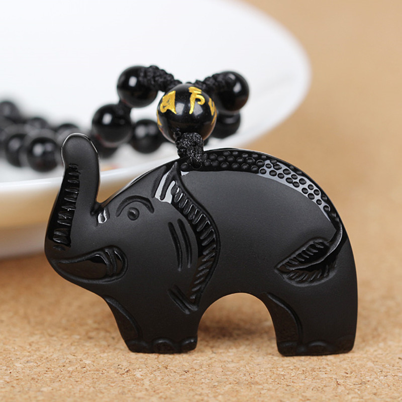 Hot Sell High Quality Natural Obsidian Elephant Pendant  Necklace Animal Necklace Sweater Chain Jade Crystal Jewelry