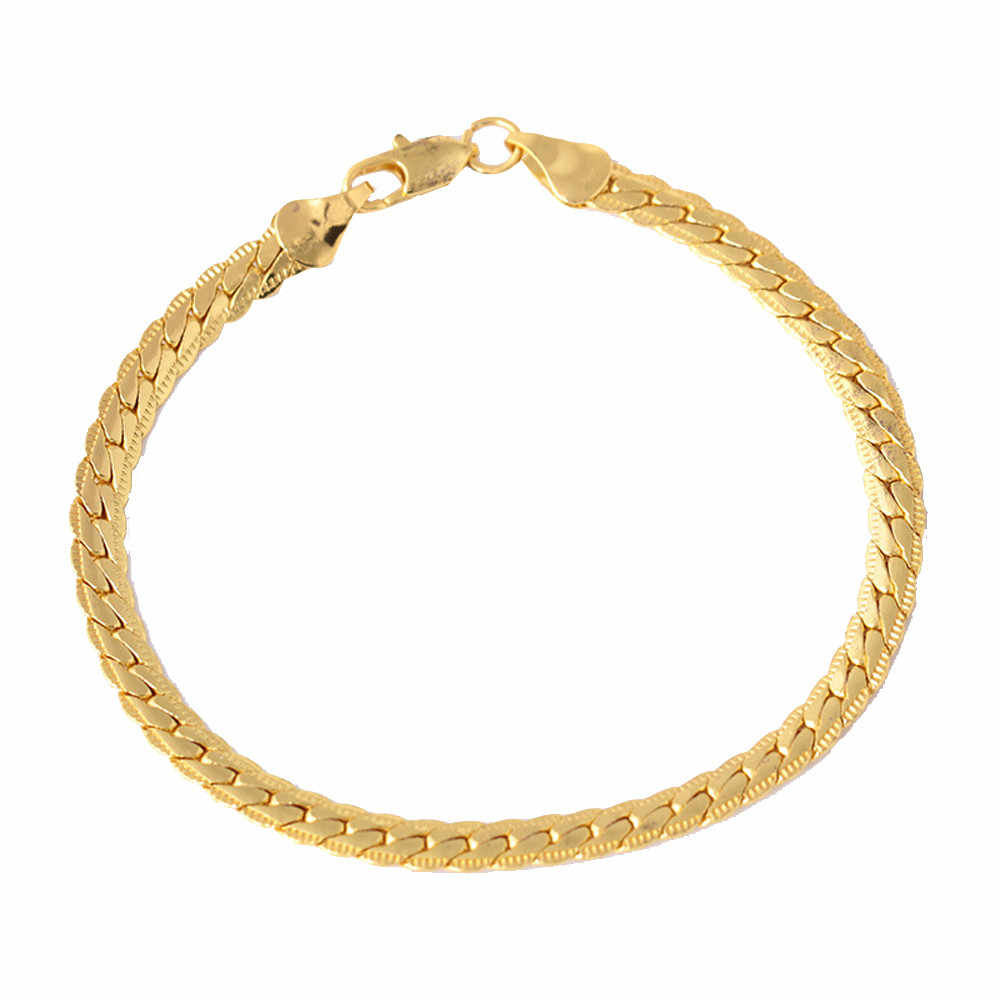 Unisex Men's Punk Gold Bracelet Chain Wristband Bangle Hip Hop Gift Jewelry Fashion Jewelry Wholesale lots bulk dropshipping