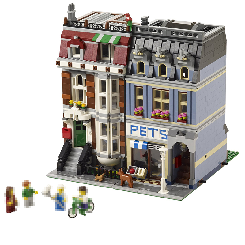 LEPIN 15009 2082pcs City Street Pet Shop Supermarket Set Model Building Kits Blocks Bricks toys Christmas Gift Compatible 10218 lepin 02012 city deepwater exploration vessel 60095 building blocks policeman toys children compatible with lego gift kid sets