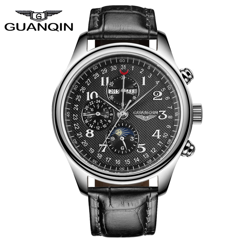 GUANQIN Automatic Mechanical Men Watches Top Brand Luxury Waterproof date Calendar Moon Leather Wristwatch Relogio Masculino AGUANQIN Automatic Mechanical Men Watches Top Brand Luxury Waterproof date Calendar Moon Leather Wristwatch Relogio Masculino A