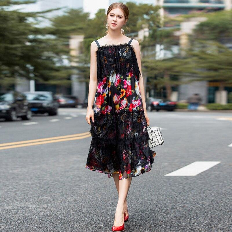 Haute qualité mode piste été sexy robe femmes sans manches fleur imprimé Patchwork dentelle à volants plage vacances robe Midi