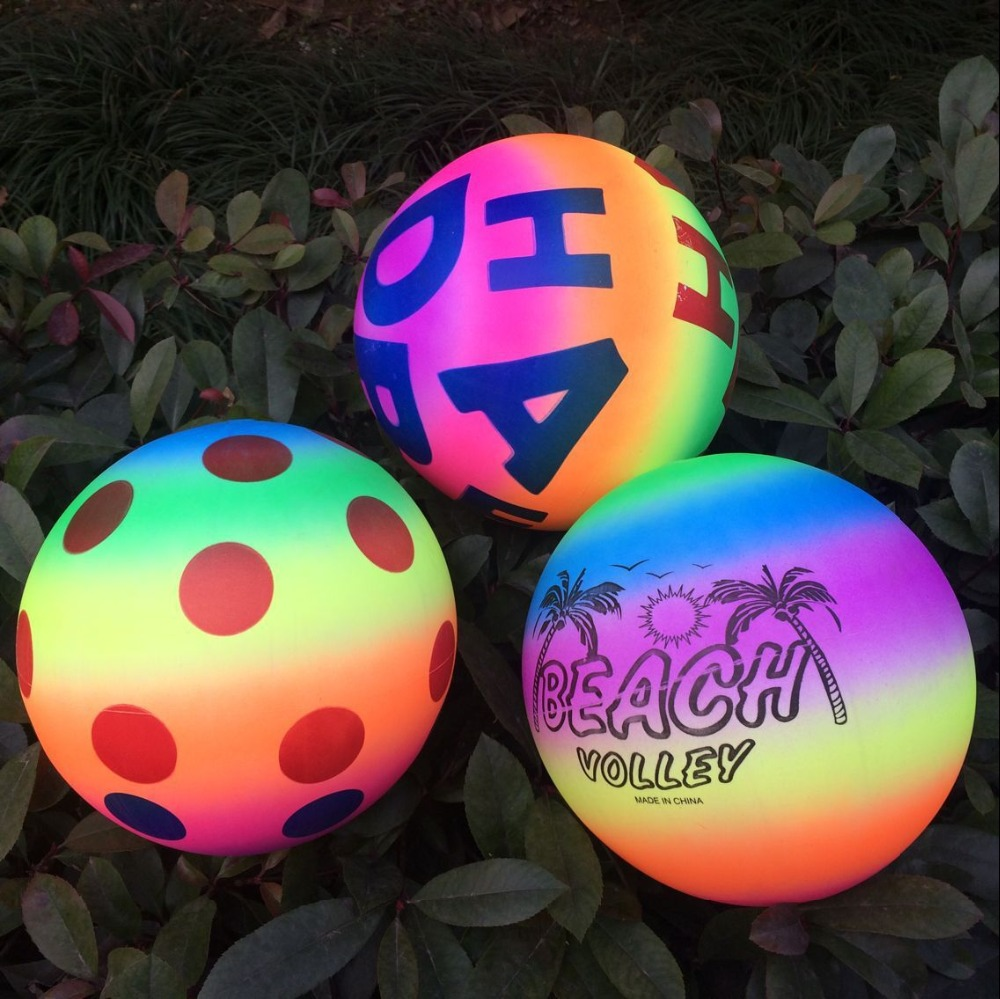 23cm Rainbow inflated Beach Ball Football Toy Baby Kid Children Balloons Random Color Swimming Pool Outdoor Play Water DS19