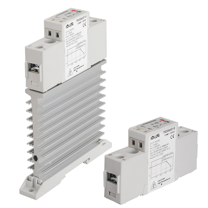 TRD-060D10 Din Rail Mount Single-phase Solid State Relay Module DC 10A DC-DC Radiator