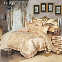 2015 New 100 Cotton Luxury Embroidery Satin Jacquard Bedding Set Bedclothes Bed Linen Sheet Set Full