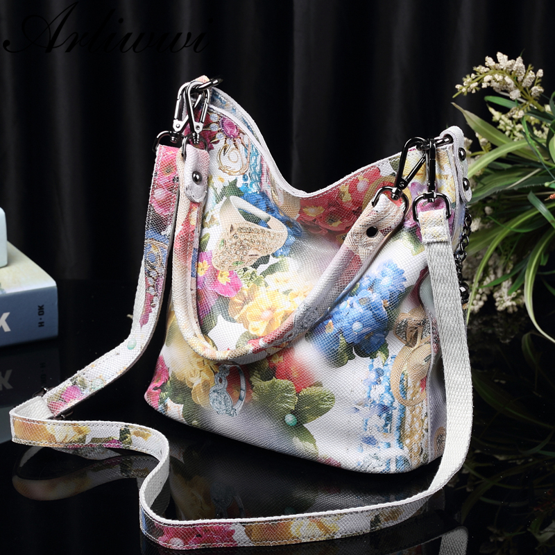 Image 4 - Arliwwi Brand High Class Shiny Floral REAL LEATHER Women Handbags Bags Fashion 2019 New Genuine Cow Leather Blossom Designer Bag-in Shoulder Bags from Luggage & Bags