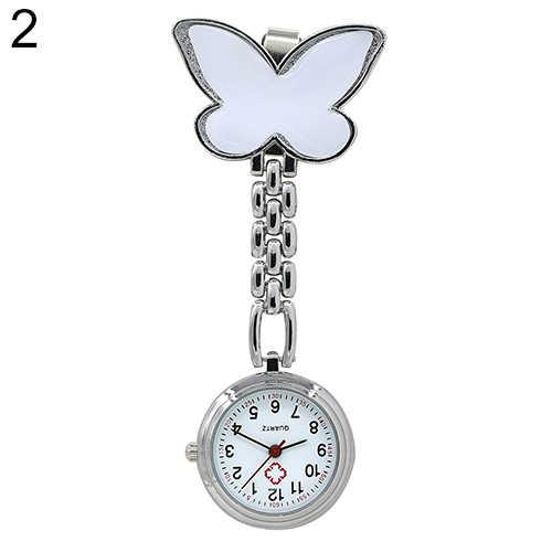 Femme mignon pendentif papillon infirmière Clip-On broche Quartz suspendus montre de poche