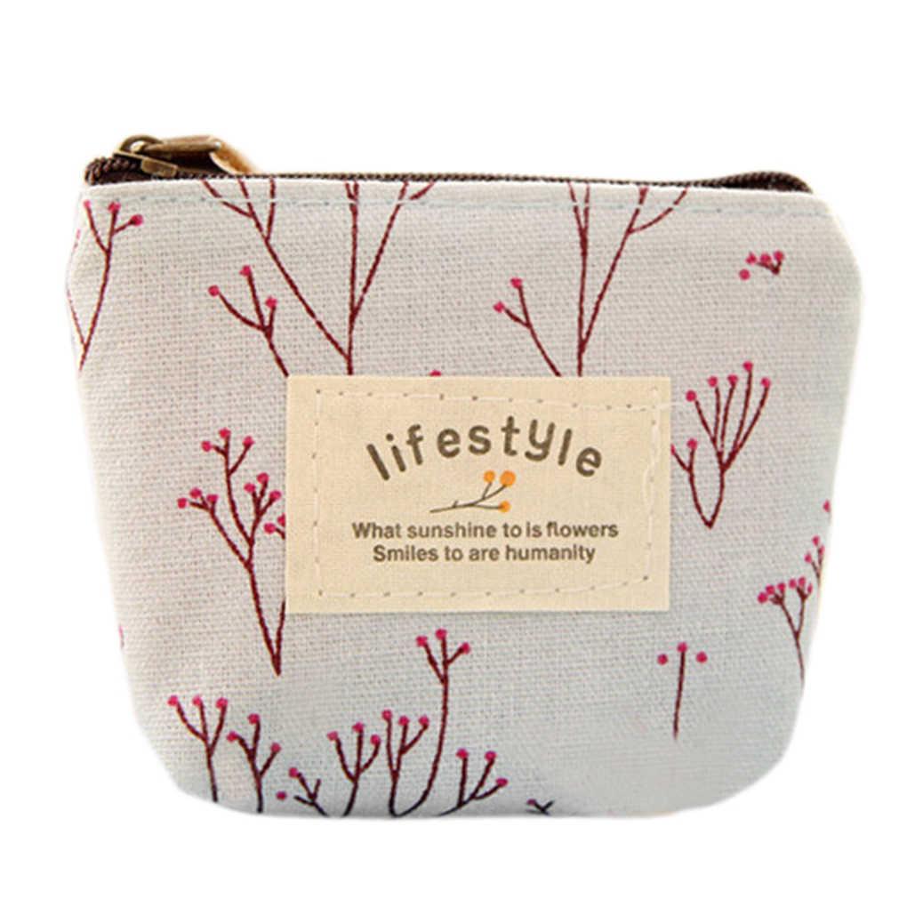 Pequeno Saco Das Mulheres de Caso Titular do Cartão Chave de Carteira para Moedas Senhora Crianças Lona Floral bolsa Com Zíper Moeda Bolsa