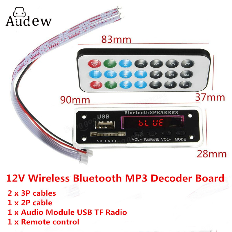 Wireless Bluetooth 12V MP3 WMA Decoder Board Audio Module TF USB Radio For Car