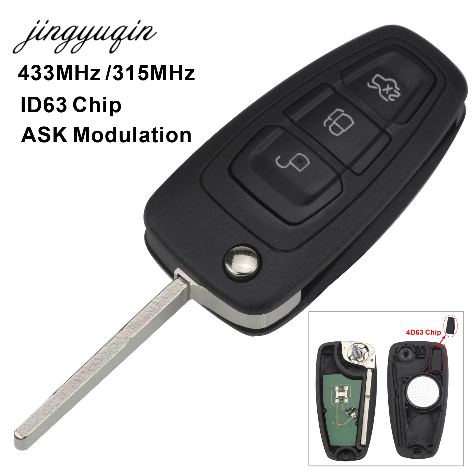jingyuqin 3 Button ID63 Chip 433/315MHZ Flip Keyless Entry Fob For Ford Focus Fiesta Remote Key Control ASK Signal HU101 Blade 2003 03 ford taurus pink keyless entry remote 4 button