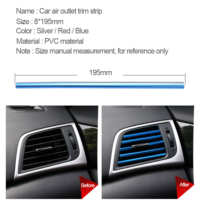 Image 2 - Car Stickers Interior Dashboard Air Outlet Vent Decoration Moulding Strips Universal Automobiles PVC Sticker on Cars Accessories-in Car Stickers from Automobiles & Motorcycles