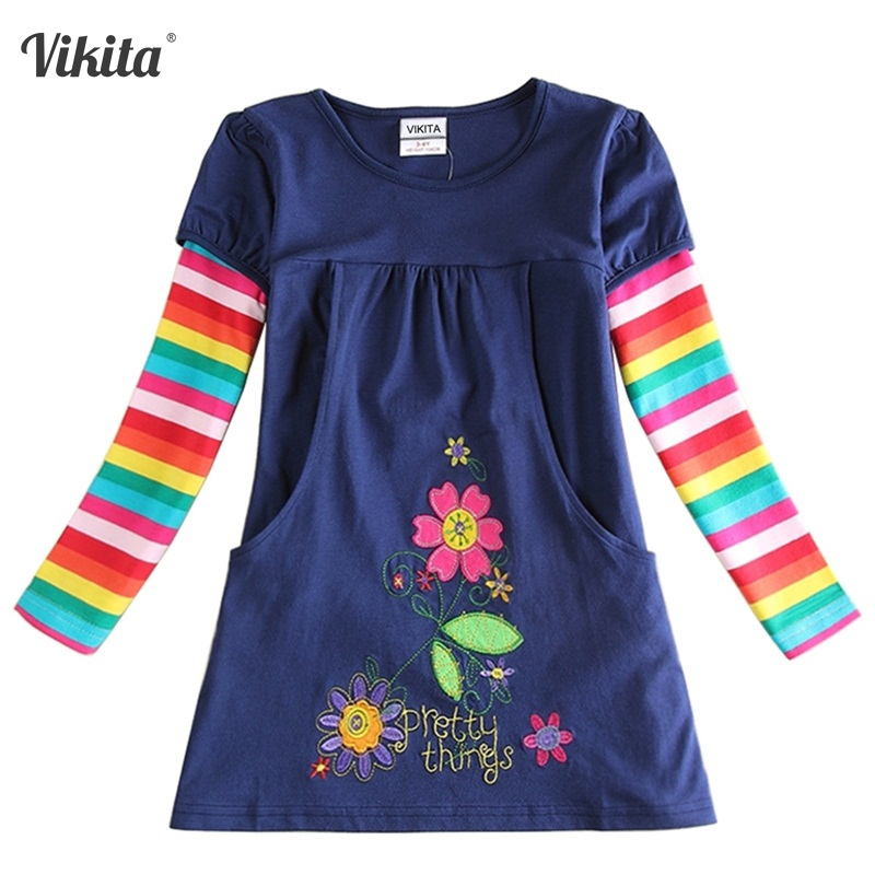 2-8Y Dresses for Girls Retail Baby Long Sleeve Clothes Tutu Party Flower Girl Dresses Neat Children Kid Dresses LH5802 H5802 Mix retail 2 8 years children s girls
