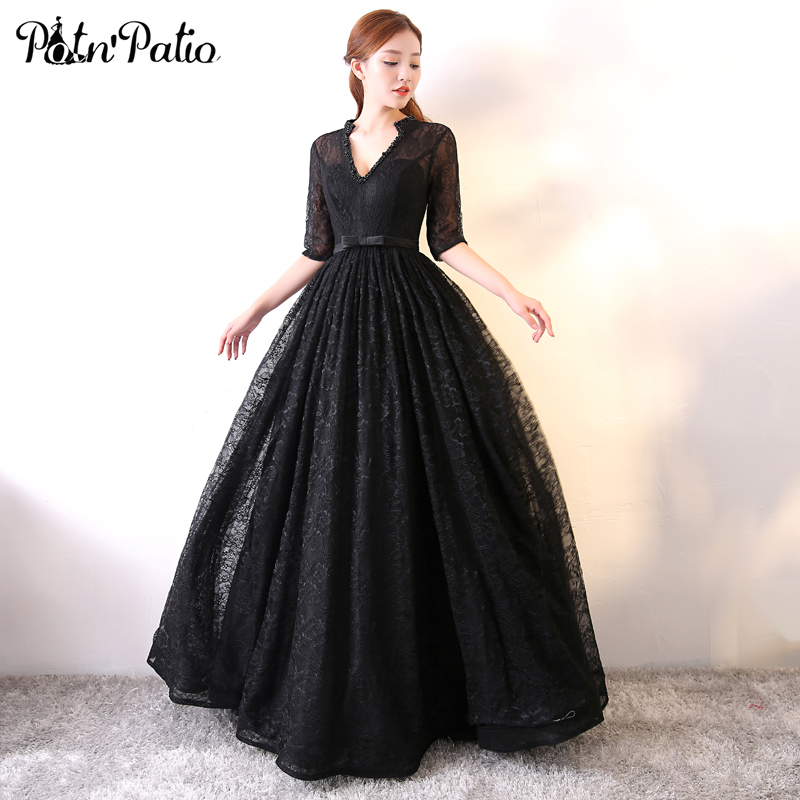 PotN'Patio Vintage Black   Prom     Dresses   Long V-neck With Half Sleeves Ball Gown Beading Lace   Prom     Dresses   2018
