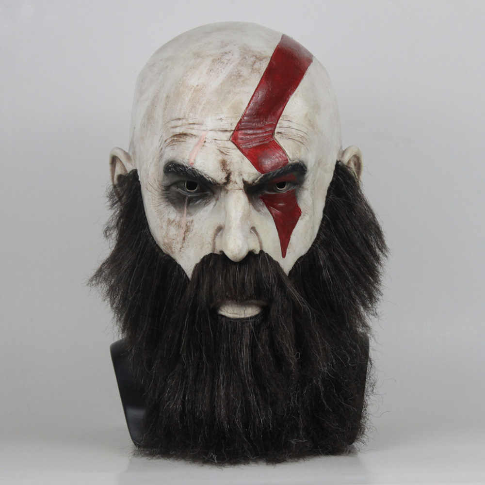 Game God Of War 4 Kratos Masker Met Baard Cosplay Horror Latex Party Maskers Helm Halloween Scary Party Props