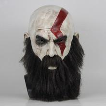 ゲームの神戦争 4 クラトスマスクひげコスプレホラーラテックスパーティーマスクヘルメットハロウィン怖いパーティーの小道具