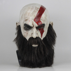 Image 1 - Game God Of War 4 Kratos Mask with Beard Cosplay Horror Latex Party Masks Helmet Halloween Scary Party Props