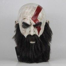 Gry God Of War 4 Kratos maska z brodą Cosplay Horror lateksowe maski imprezowe kask Halloween przerażające przyjęcie rekwizyty