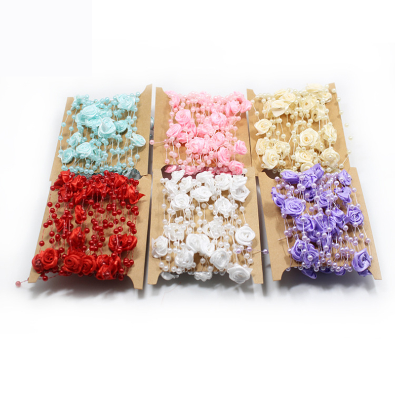 5m 10m 60m Fishing Line Pearls Chain Pearl Beads Chain: New 4mm 5M 6 Colors Fishing Line Artificial Pearls Beads