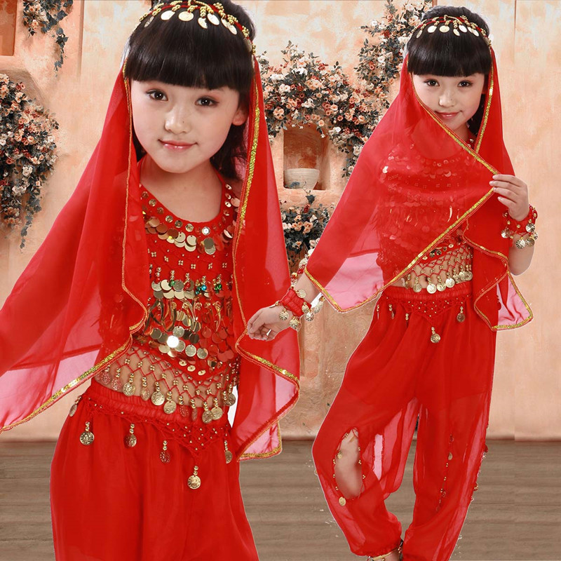 2-4pcs girls Belly dance costume indian bollywood chidren costume oriental dance costume set red/rose red/yellow 3 colors