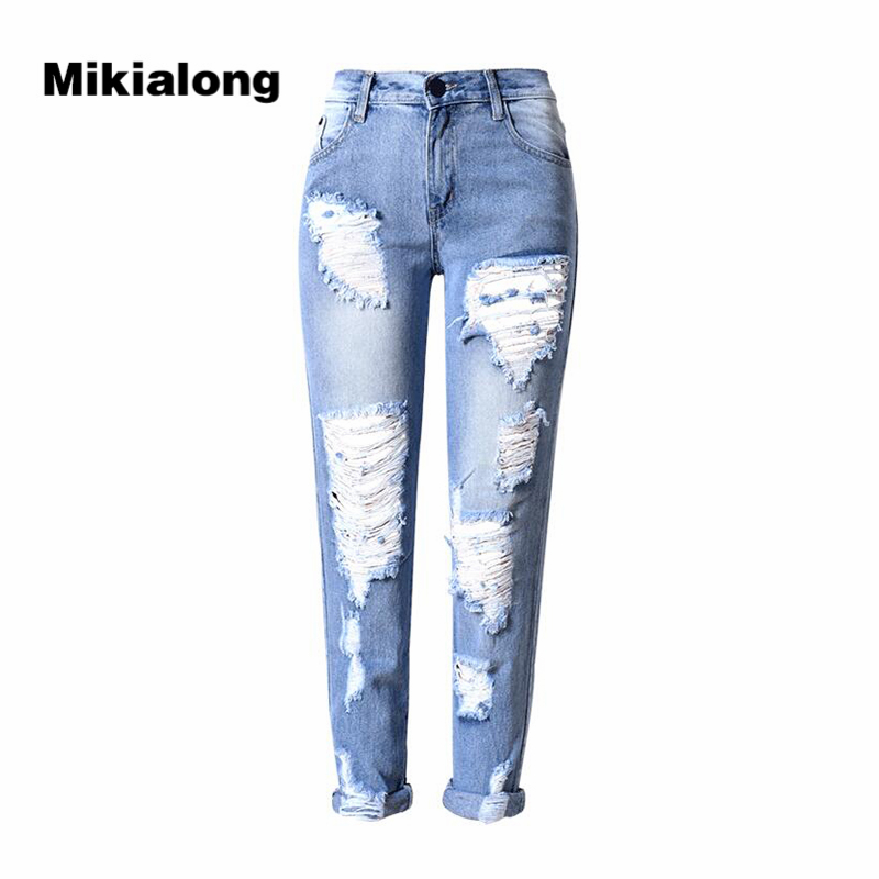 2017 Fashion Hole Ripped Jeans for Women Slim Mid Waist Cotton Jean Femme Blue Casual Denim Pants Women Large Size Trousers skinny slim mid waist ripped jeans slim pants for women scratched jean femme pencil trousers taille haute 2016