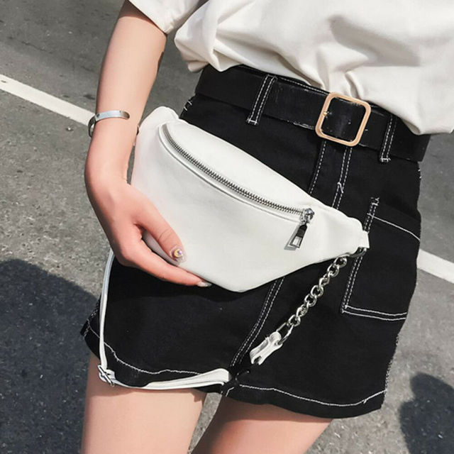 2019 Newest Hot Metal Chain Lychee Leather Fanny Pack Waist Bag Casual Waterproof Anti-theft Women Band belt Multi-function Bag