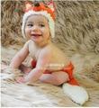 2 pcs fox orange roupas roupas + chapéu meninas criança handmade malha recém-nascidos new born infantil bebê set