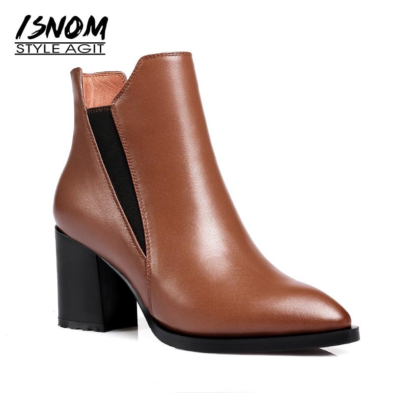 ISNOM новые женские ботильоны на высоких каблуках, острый носок короткие плюшевые ботинки обувь из коровьей кожи женские ботинки черная обувь...
