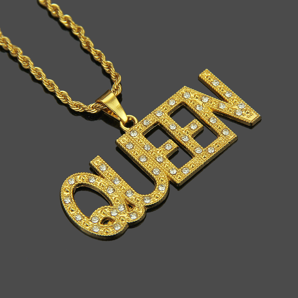 Royal Crystal Pendant Gold Necklaces Long Queen Cute Chain Hip Hop Necklace Party Jewelry