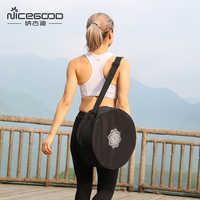 Sac de roue de Yoga en Nylon noir Mandala fleur 36*14cm sac de cercle de Yoga grande capacité Double fermeture à glissière Pilates roue sac à dos sac de Yoga