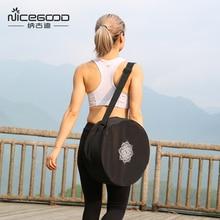 Колесо для йоги нейлоновая сумка черный мандала цветок 36*14 см йога круг мешок большой Ёмкость двойная молния Пилатес рюкзак на колёсах Yoga Bag