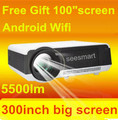 New 3D Android 4.4 Bluetooth wi fi Full HD LED Multimedia Projector Wifi 5500 Lumens Home cinema LCD Projektor Beamer