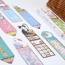 30pcs/pack kawaii cartoon reading cats paper bookmark page holder message label cards school and office suppliers