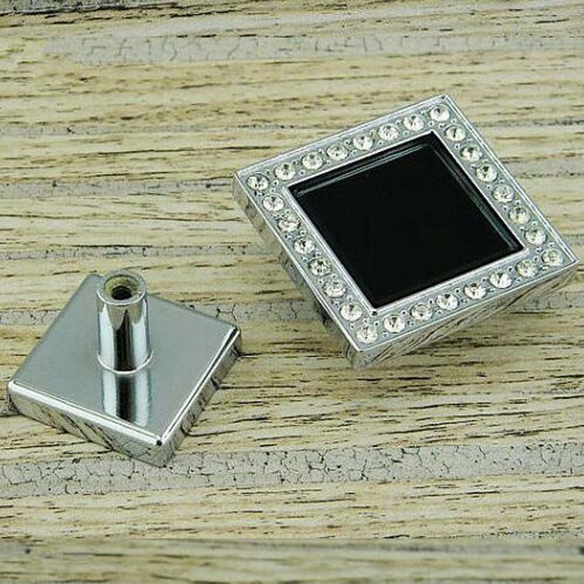 45mm fashion deluxe glass diamond modern furniture knobs square black glass drawer cabinet knobs silver chrome dresser door pull