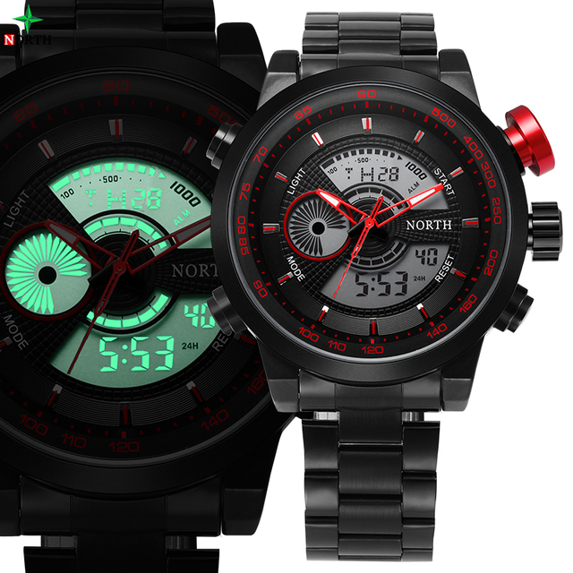 Men Sport Watches Men Multi-functional Military Watch Male Clock Stainless Steel saat Men Sports Watch LED Digital Wristwatch