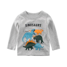 Boys Letter Long Sleeve T-shirt Kid Cartoon Dinosaur Pattern Clothing Cotton Clothes Baby Casual Tops Tees Children T Shirt iyeal kid baby boys clothes set casual cotton letter tops t shirt long pants for children toddler baby tracksuit 1 2 3 4 years