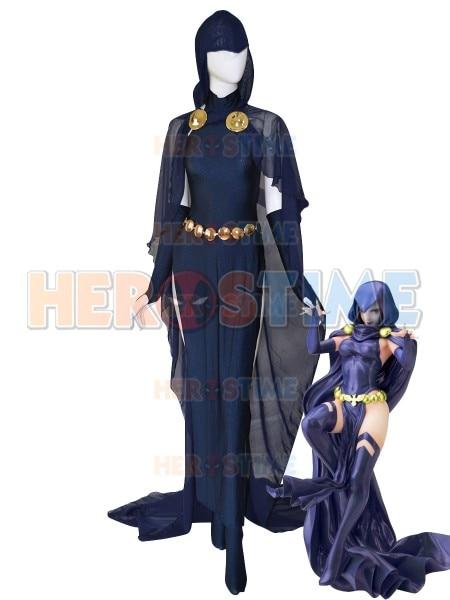 Navy Blue Raven Cosplay Costume Women Sexy Raven Catsuit Cloak Bodysuit Halloween Costume for woman