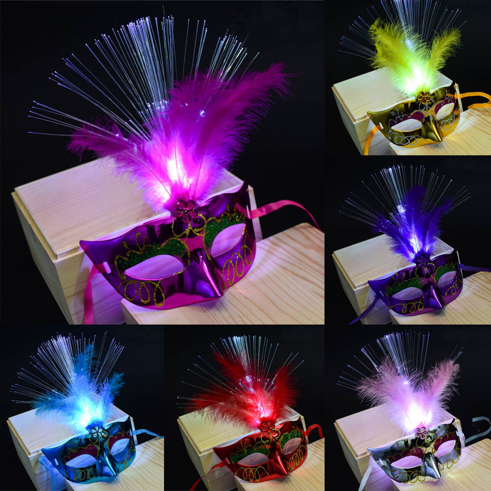 HIINST Secret Colorful Luminous Women Venetian LED Fiber Mask Masquerade Fancy Dress Party Princess Feather Masks dropship AA# цены