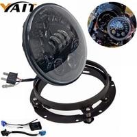 7 7inch Round LED Headlights Hi Lo Beam Mounting Bracket For Harley Davidsion Yamaha Road Star