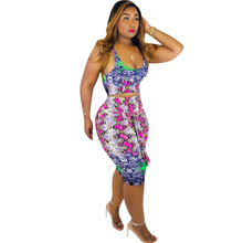 Fashion new snakeskin summer womens dress two-piece sexy casual print suit sleeveless