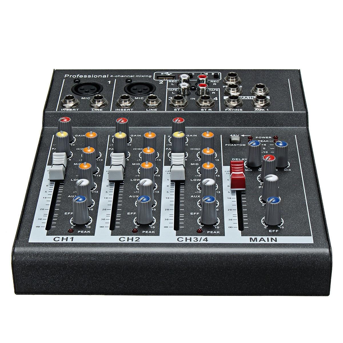 CLAIT Karaoke Mixer Professional 4 Channel Studio Audio Mixing Console Amplifier Digital Mini Microphone Sound Mixer Sound Card