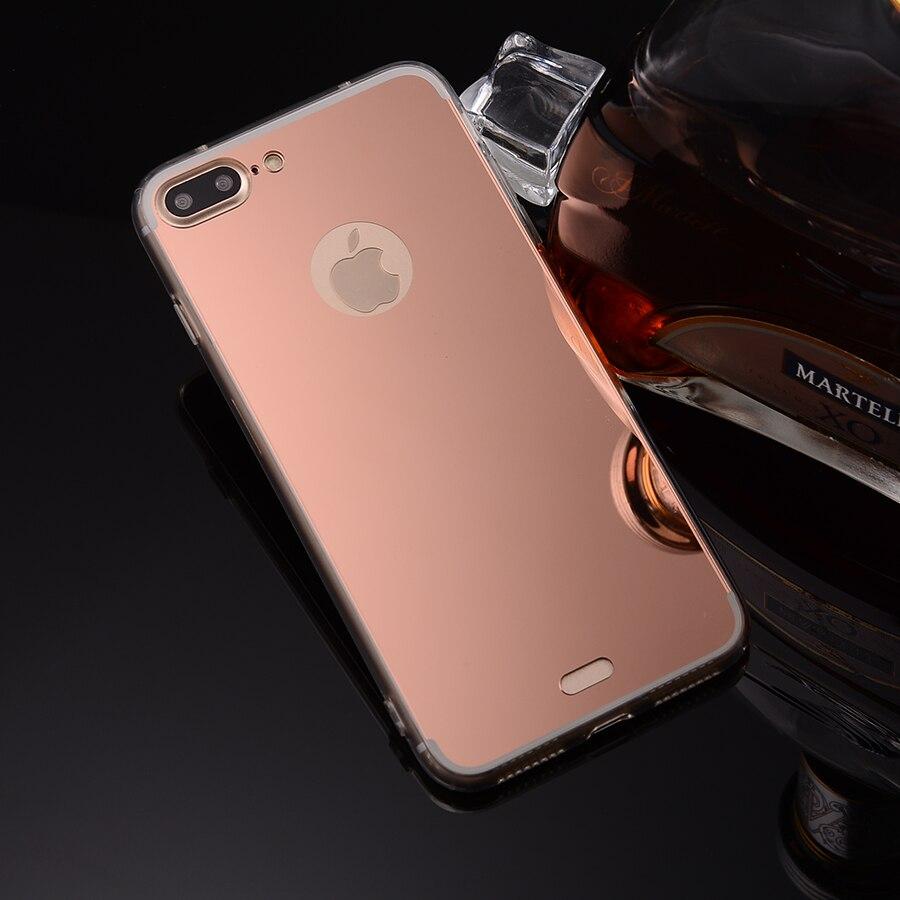 Rose Or Miroir Souple En Silicone Retour Housse Pour Apple iPhone 4 4S 5 5S SE 6 6 s 7 iPhone7 Plus Flexible Clair Coque Capa