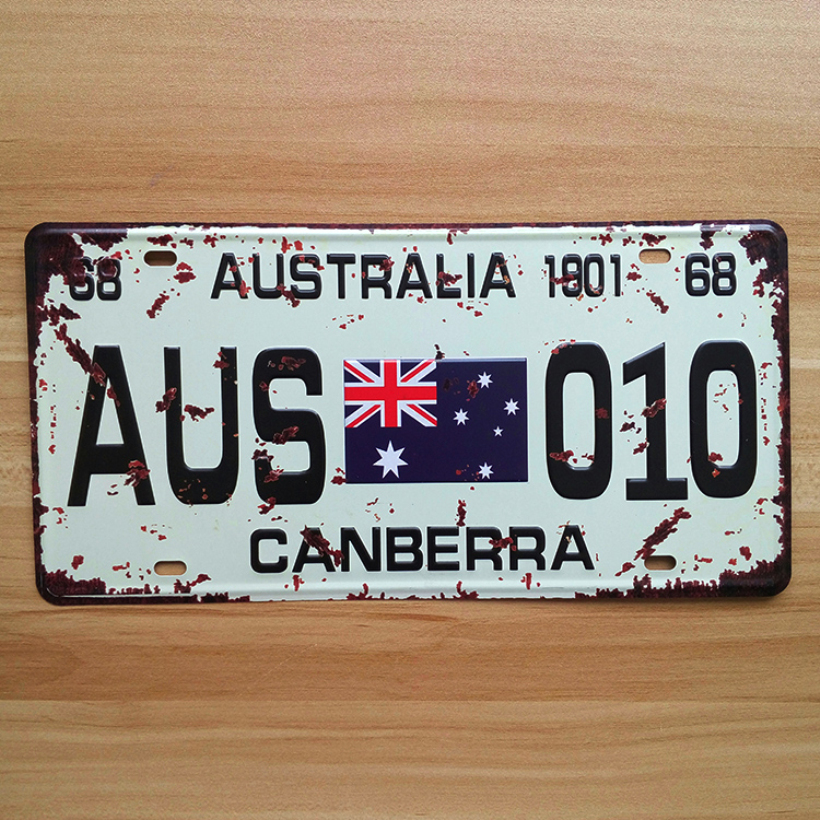 UA-CP-0021 Vintage License Plate Number  AUS-010 Australian  metal tin signs Retro Art wall craft decor House Bar 30*15 CM