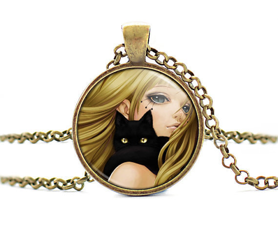 Black Butler Anime Sebastian Seal Pendant Kuroshitsuji Glass Cabochon Necklace Jewelry