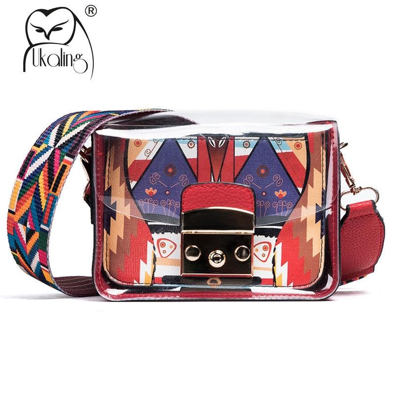 UKQLING Для женщин Курьерские сумки с широким красочные ремень клапаном сумки Сумки Для женщин известных брендов кошелек леди Кроссбоди мешок ...